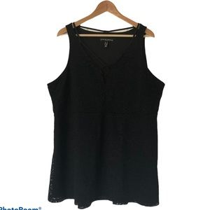 Love & Legend Black Lined Lace Sleeveless Top 3X